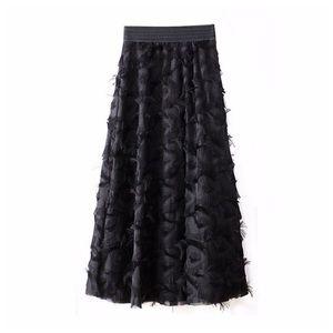 💐 Black & White Eyelash Feathered Skirt